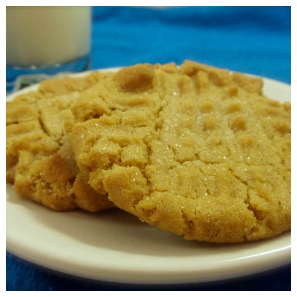 A little crispy around the edges and soft and chewy in the middle. It's not fancy, but this little peanut butter cookie will hit the spot when you're craving some PB! #Real Food Girl: Unmodified