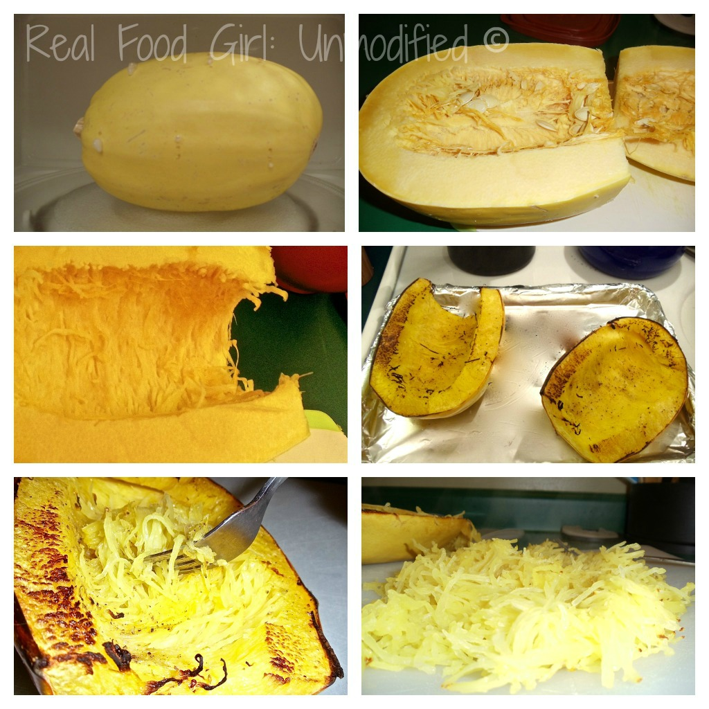 Spaghetti Squash with 2 sauce recipes. GF, Vegetarian sauce option. Comforting, healthy, GMO-Free! Gotta try it! Real Food Girl: Unmodified