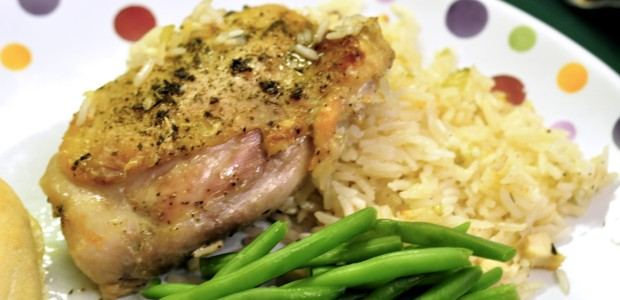 Organic, pastured chicken baked with rice and homemade, GF Cream of Chicken soup! GMO-Free easy chicken dinners!