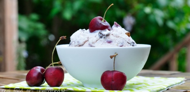Roasted Cherry Pistachio Chocolate Chunk Ice Cream. Real Food Girl:Unmodified