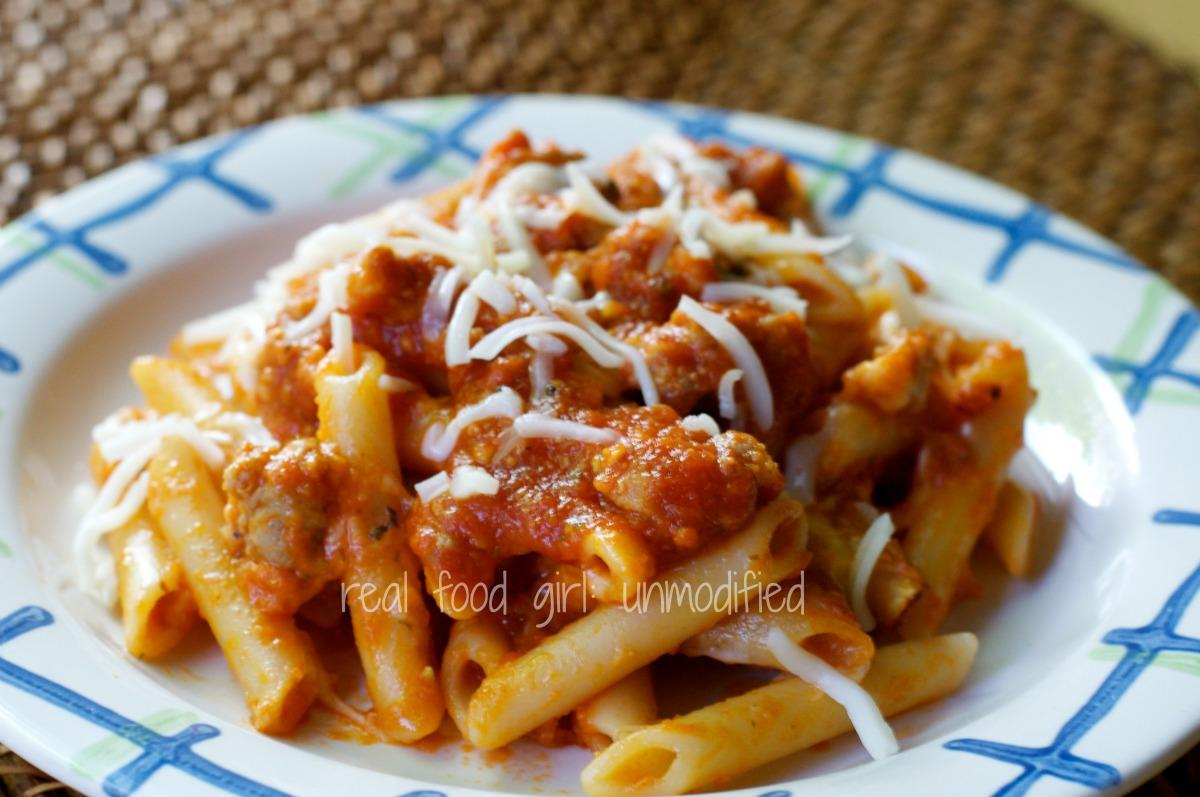 Easy Baked Penne Pasta with Italian Sausage --Real Food Girl: Unmodified