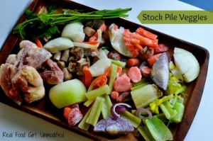 Stock Pile (veggies and bones) for Homemade Stocks. Kitchen Tips by Real Food Girl: Unmodified