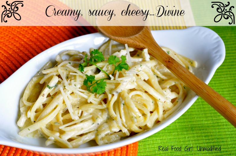 Rich and Creamy Garlic-Parmesan Linguine by Real Food Girl. Must Try This Tonight! Pin & Share!