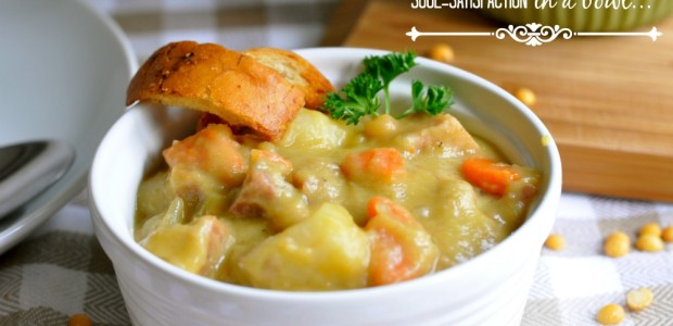 Split Pea Soup with Ham- The creamiest, most satisfying pea soup on the web.