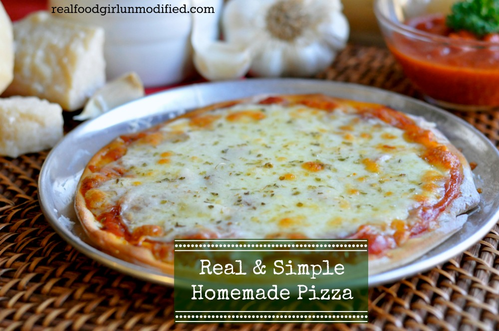 Real & Simple Homemade Pizza by Real Food Girl Unmodified. Links to pizza dough recipe, too. Pinning this now for later.