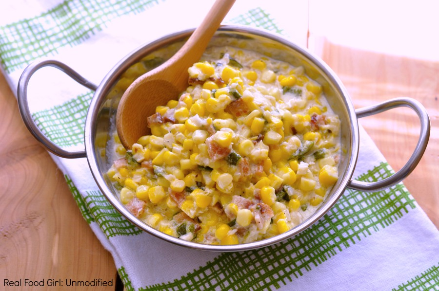 Creamed corn with bacon and poblano pepper by Real Food Girl: Unmodified