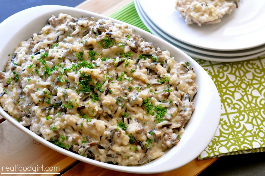 Wild Rice Hotdish- A recipe remake by Real Food Girl: Unmodified. Tasty wild rice, ground beef, mushrooms, creamy sauce...