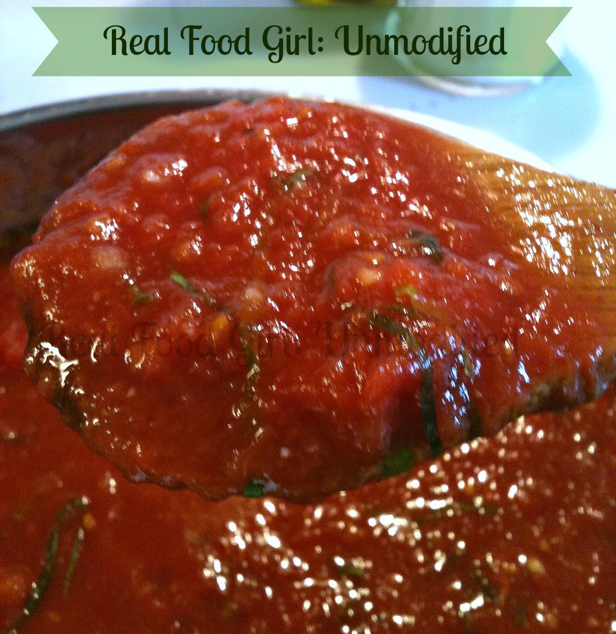 "Real Food Girl: Unmodified's Sunday ""Gravy""-- Authentic Italian Marinara Sauce. GMO-Free"
