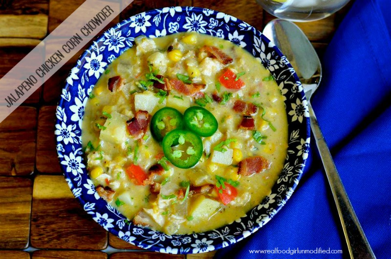 One Pot Jalapeno Chicken Corn Chowder|Real Food Girl Unmodified. So going to make this tonight! Pin Now!