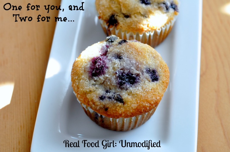 Double Blueberry Muffins by Real Food Girl. Tastes like a fancy bakery muffin! Gotta make these!