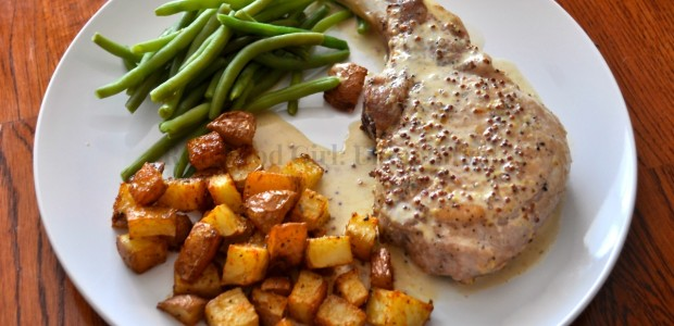 Pan Seared Pork Chops with Mustard Cream Sauce- Thing of beauty from Real Food Girl: Unmodified