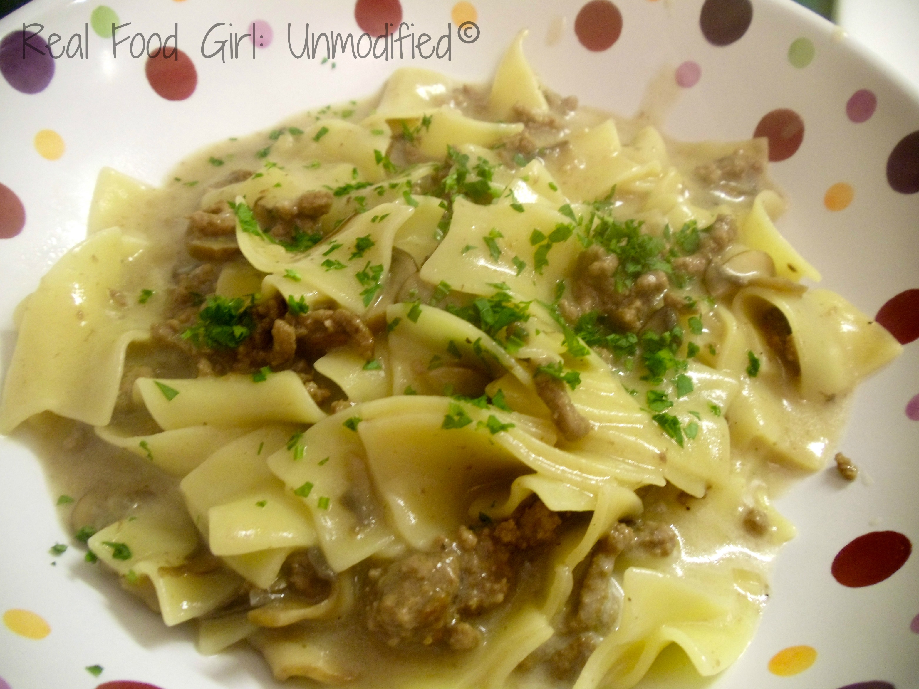 From fridge to table in under 60 minutes. Creamy Mushroom & Beef Stroganoff. Organic and GMO-Free. #Real Food Girl: Unmodified