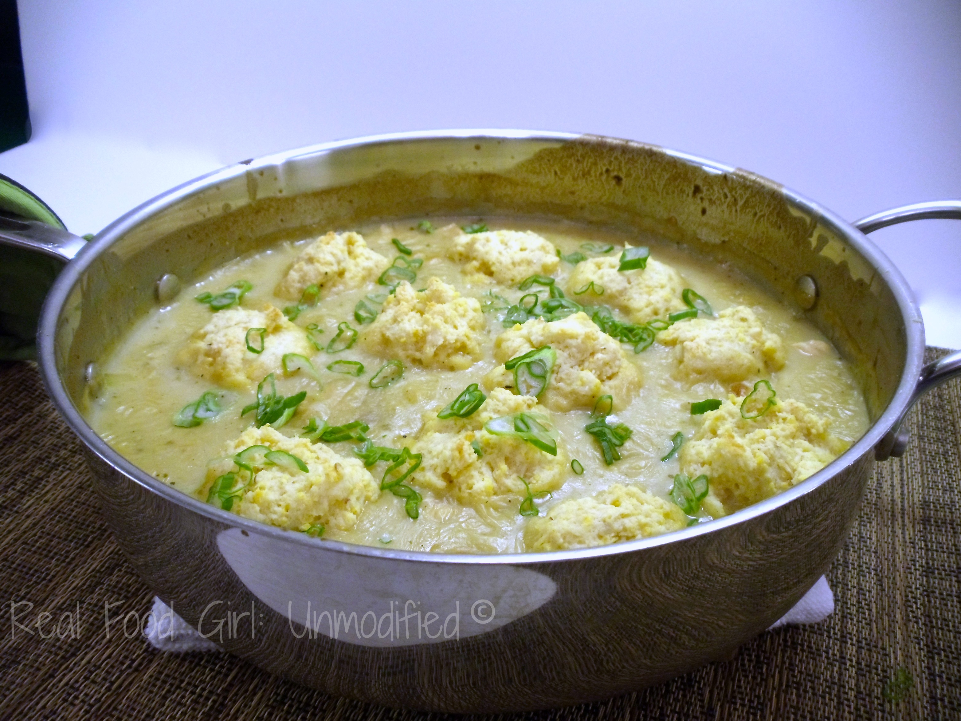 One pot wondererful! Chicken Salsa Verde with Cornbread Dumplings. This is GMO-Free/Organic comfort food done right. Real Food Girl: Unmodified.
