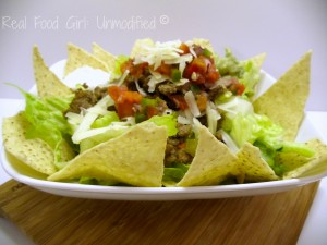 GMO-Free Tasty Taco Salad.  Super flavorful taco meat made with organic grass fed beef, and fresh veggies!  Perfect weeknight meal.  Real Food Girl: Unmodified