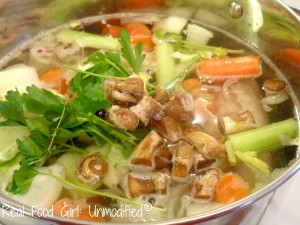 Homemade Non-GMO Beef Stock.  Easy to make and tastes so much better than canned, or boxed stocks. Much healthier, too!  Real Food Girl: Unmodified
