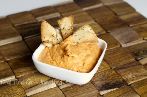 Delicious roasted red pepper hummus with homemade pita chips. Easy and affordable. You'll never buy store bought again! @Real Food Girl: Unmodified
