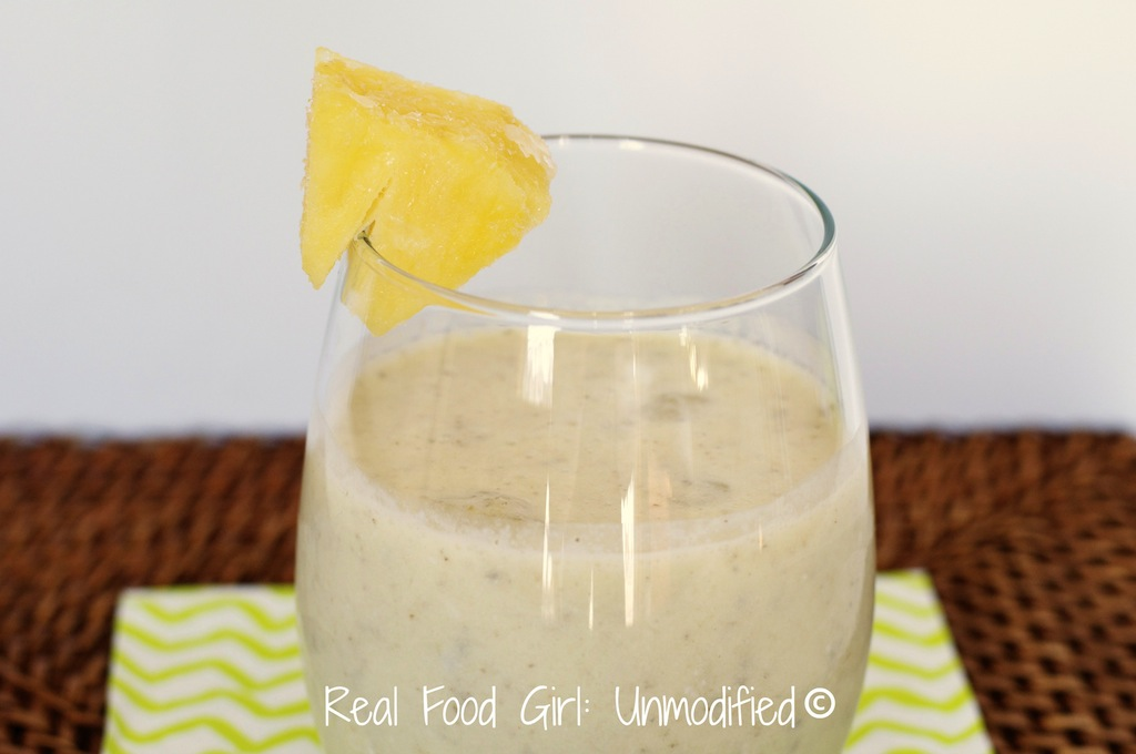 Pineapple Coconut Chia-colada, Healthy, organic, rich, creamy and yumtastic, healthy recipe, healthy drink recipe, real Food GIrl: Unmodified