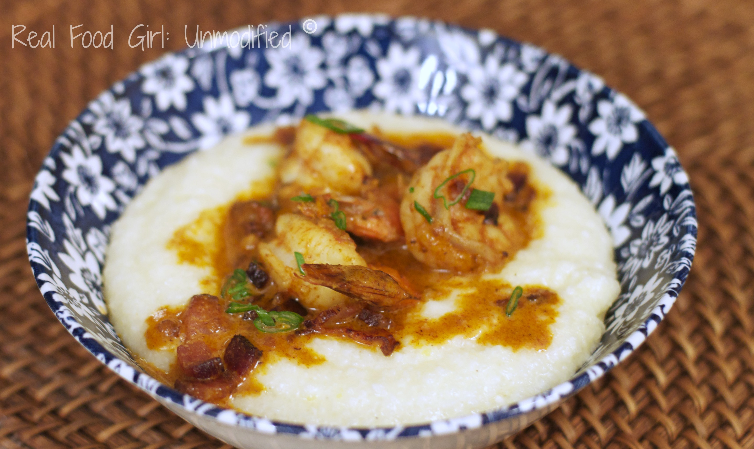 Real & Easy Shrimp-n-Grits. Cheesy grits topped with shrimp, bacon and a spicy cream sauce. Southern Comfort Food. So good!!