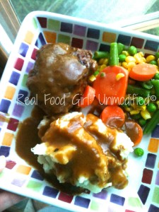 Ground Sirloin Steaks with Brown Gravy- Homecookin' organic food from Real Food Girl: Unmodified