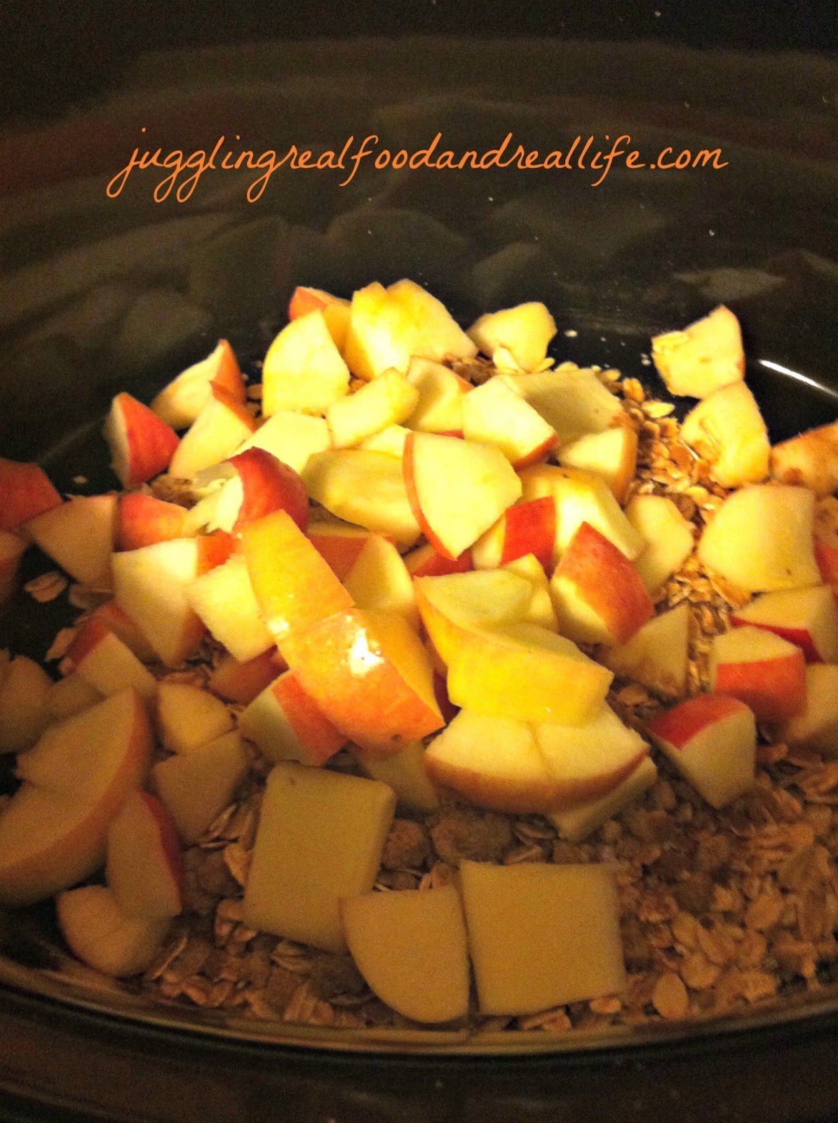 Real Food Girl Presents: Juggling Real Food and Real Life. Apple Cinnamon Slow Cooker Oatmeal