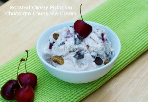 Real Food Girl Roasted Cherry Chocolate Chunk Ice Cream with Pistachios