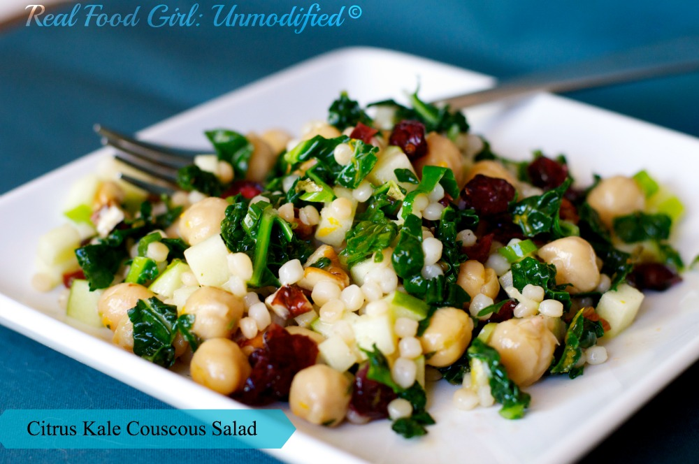 Real Food Girl: Unmodified--Citrus Kale Couscous Salad