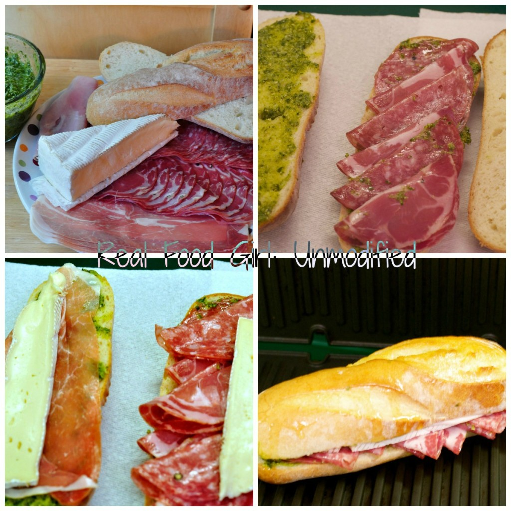 Amazing Italian Salame with Brie, Pesto and Arugula Panini's from Real Food Girl: Unmodified