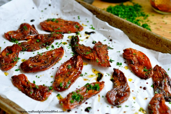 Balsamic Roasted Tomatoes| Real Food Girl: Unmodified. I have to try these!!