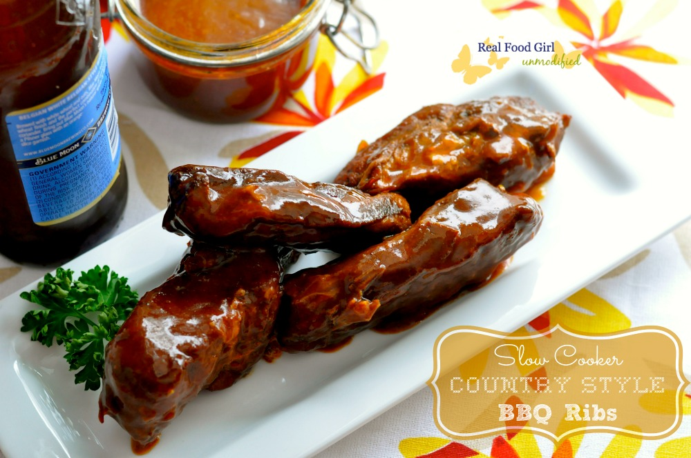 Slow Cooker Saucy Country Style BBQ Ribs by Real Food Girl Unmodified. Pin now, make these tonight!