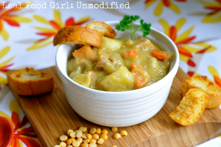 Real Food Hearty Split Pea Soup with Ham by Real Food Girl Unmodified- This looks amazing!