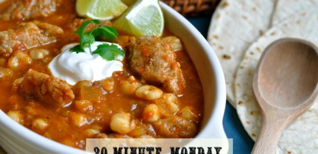 30-Minute Mondays- Speedy Pork Pozole by Real Food Girl Unmodified. My mouth is watering! Pinning so I remember to make this soon!