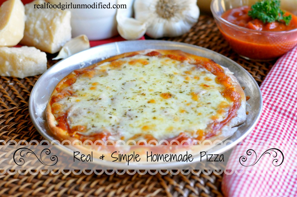 Simply & Homemade Pizza by Real Food Girl Unmodified. Links to pizza dough recipe, too. Pinning this now for later.