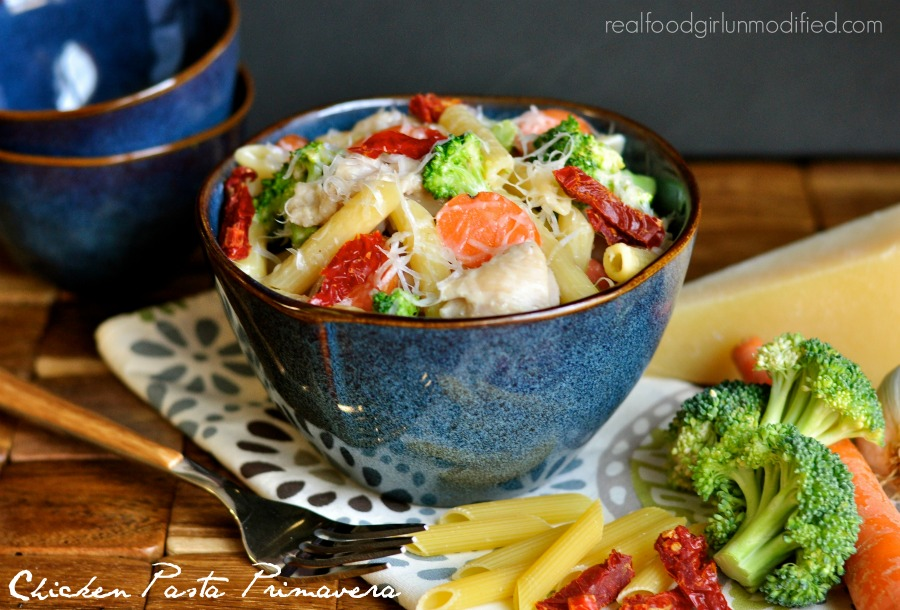 Chicken Pasta Primavera by Real Food Girl: Unmodified. Yes please!!