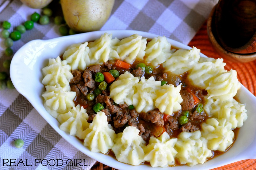 30-Minute Monday Skillet Shepherd's Pie by Real Food Girl: Unmodified.  Made with savory ground lamb, vibrant veggies and a rich gravy-like sauce for the fluffy mashed taters!