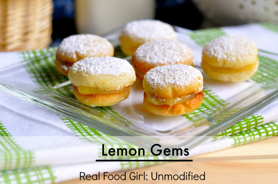 Lemon Gems. Buttery cookies sandwich tart, yet sweet lemon curd filling| Real Food Girl: Unmodified