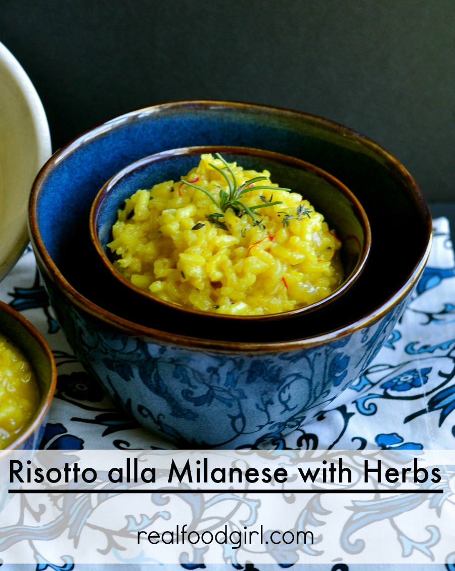 Real Food Girl: Unmodified Guest Posts at Mommypotamus- Risotto Milanese with Herbs