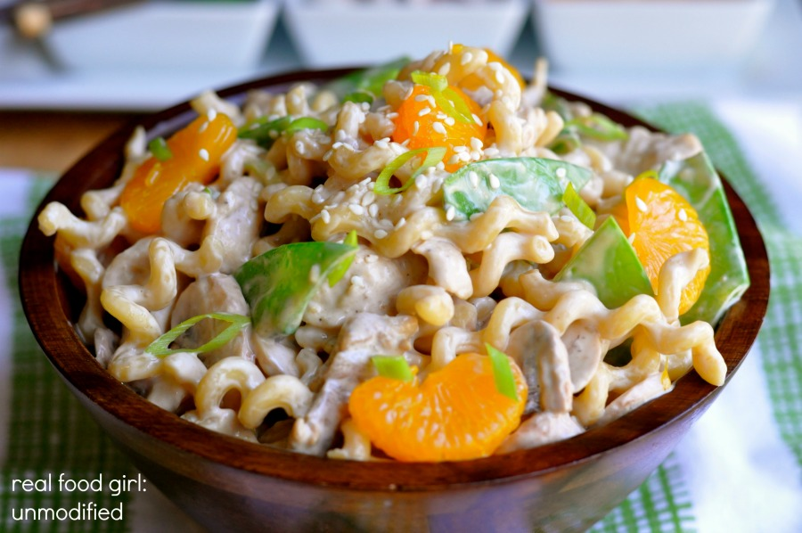 Asian Chicken Pasta Salad with Crispy Wontons by Real Food Girl: Unmodified