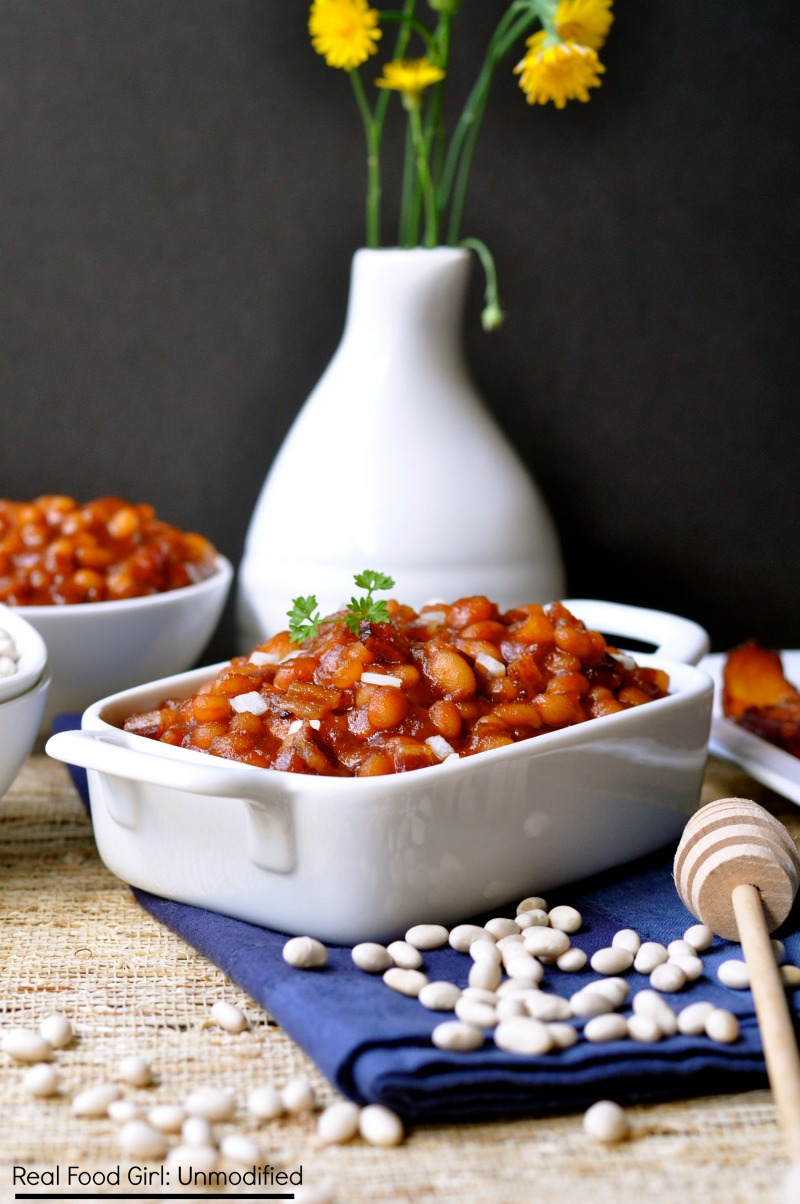 Stove-Top Brown Sugar & Maple Baked Beans (with bacon) by Real Food Girl: Unmodified.