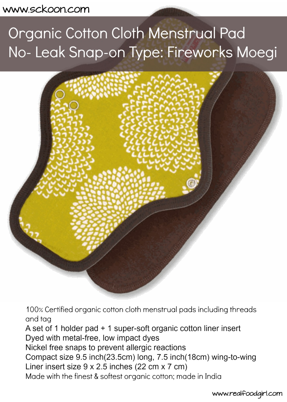 Sckoon 100% Organic Cotton cloth pad Review by Real Food Girl Unmodified