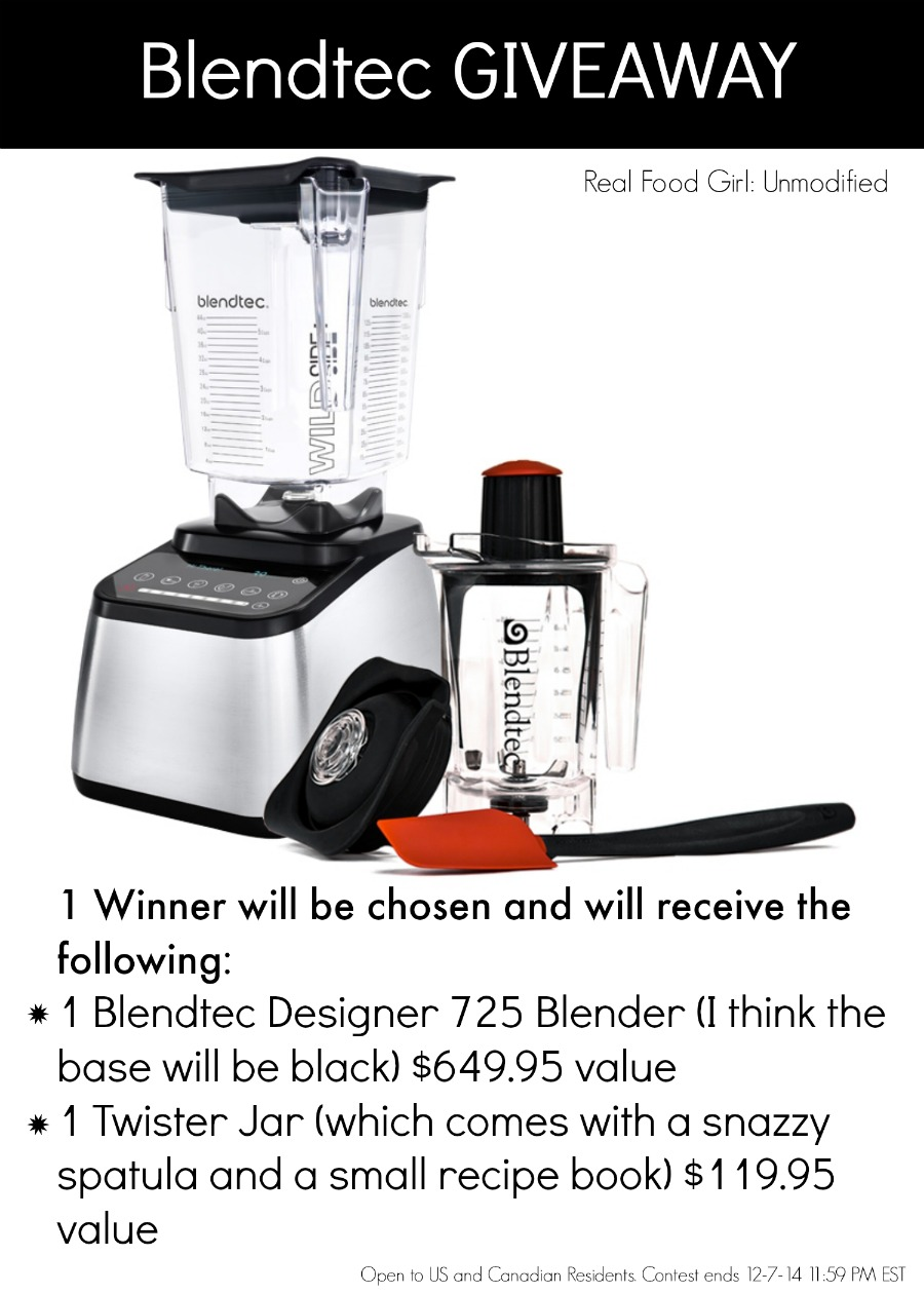 Real Food Girl goes Blendtec crazy and gives away a blender and twister jar valued at over $750!!