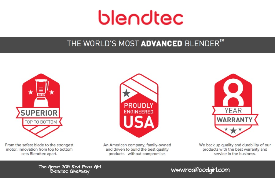 Real Food Girl joins with Blendtec for an AWESOME blender giveaway! 11/30-12/7 2014